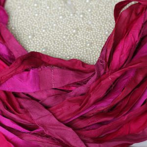 Лента ручного окраса Ягодно-розовый