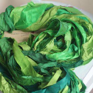 Лента ручного окраса (Сочная зелень)